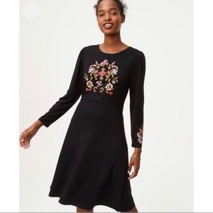 Loft Floral Embroidered Long Sleeve Dress- Size 14